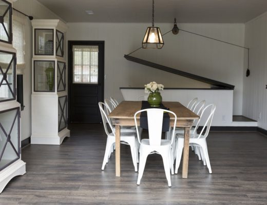 Garage dining room with Quick-Step's Flint Oak from the Reclaimé Collection