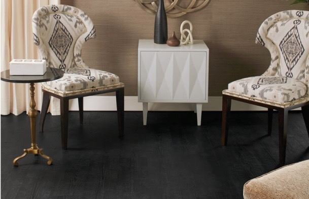 Erinn V. Collection <a href=www.erinnv.com/dining-chairs/item/london-chair>London chairs</a> and <a href=www.erinnv.com/accent-tables/item/diamond-door-side-table>Diamond Door table</a> pictured on Quick-Step's <a href=http://us.quick-step.com/our-products/product-detail?pitem_id=619&product-name=tuxedo-pine-planks>Tuxedo Pine</a> floors.